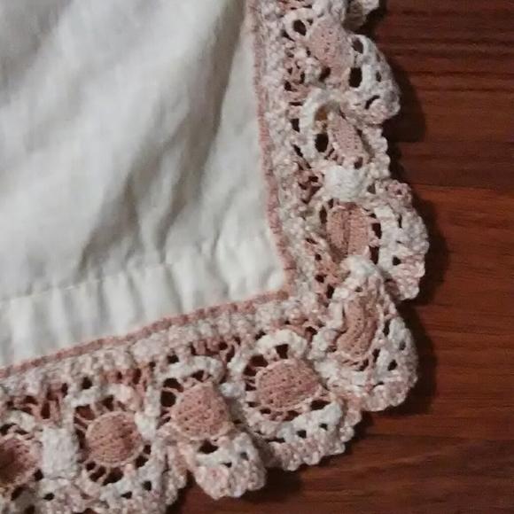 Vintage Other - 1 Vintage lace crochet trim plain cotton curtain